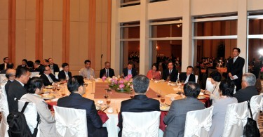 "Pro-Beijing legislators during the ""tea gathering"" ."