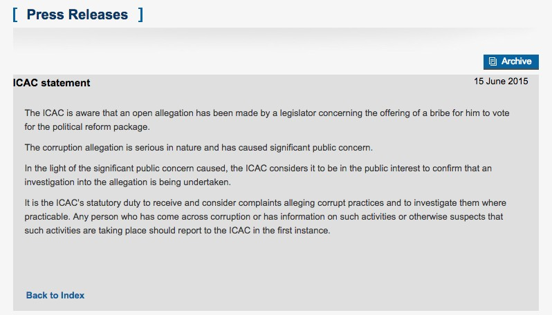 ICAC statement