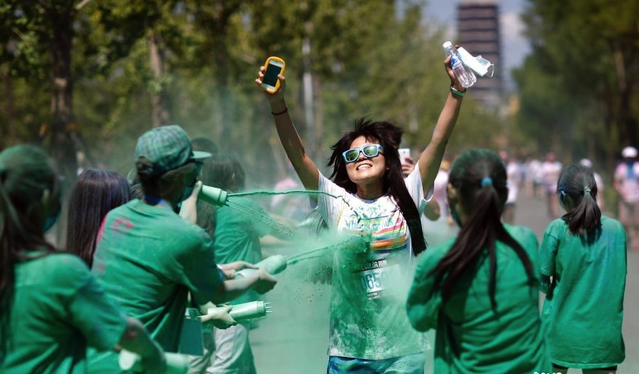Beijing residents having fun during Color Run event