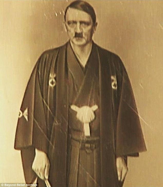 bizarre photo of adolf hitler in japanese kimono goes