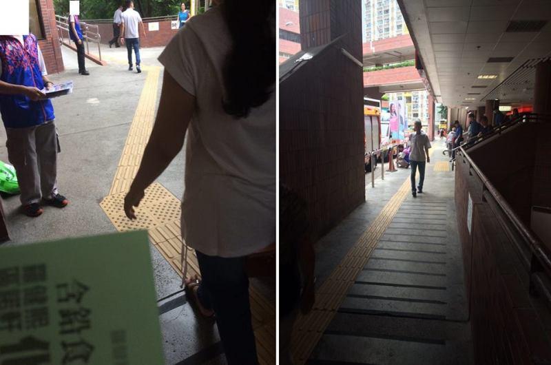 Au was obstructed by three DAB interns. Photo: Au Nok-hin via Facebook.