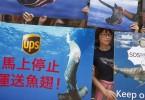 UPS shark fin protest