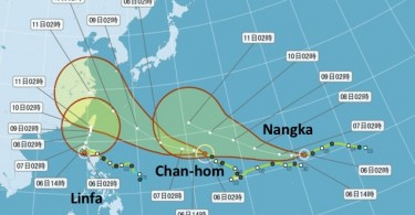 Storm track of the typhoons. Photo: Apple Daily.