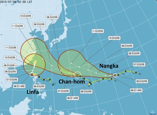 Storm track of the typhoons.