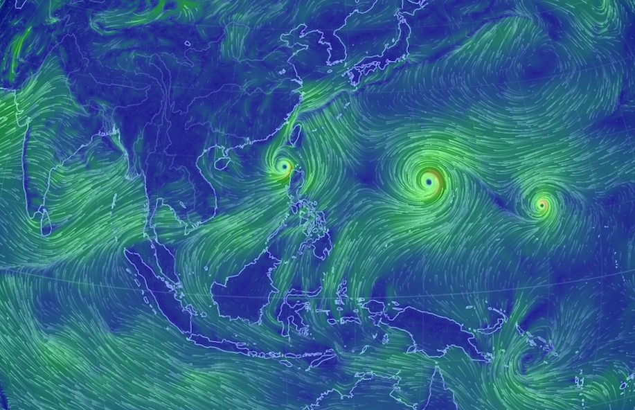 Three tropical cyclones near the region. Photo: Earth.