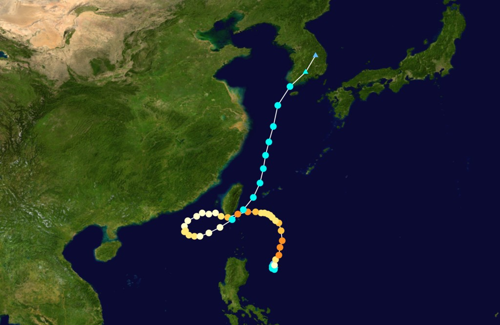 Typhoon Tembin's zigzag route was speculated as a result of Li's field. Photo: Wikimedia Commons.