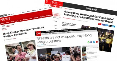 headlines breast hong kong assault police