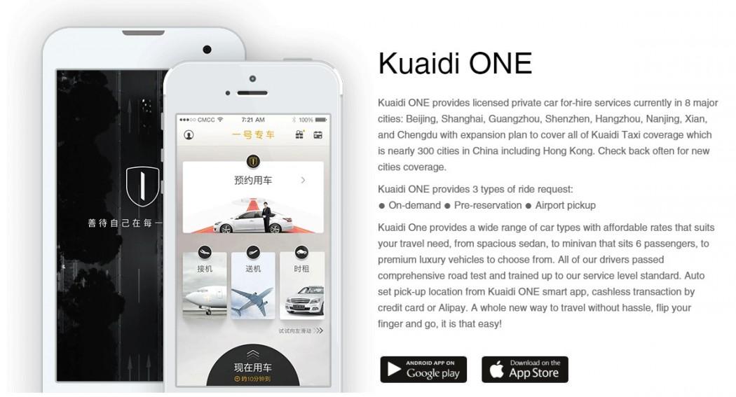 Kuaidi One app and its services. Photo: Kuaidi One.