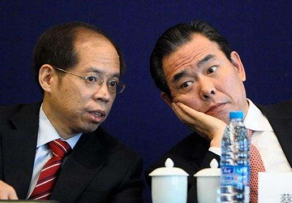 State General Administration of Sports deputy director Cai Zhenhua with CFA chairman Zhang Jian