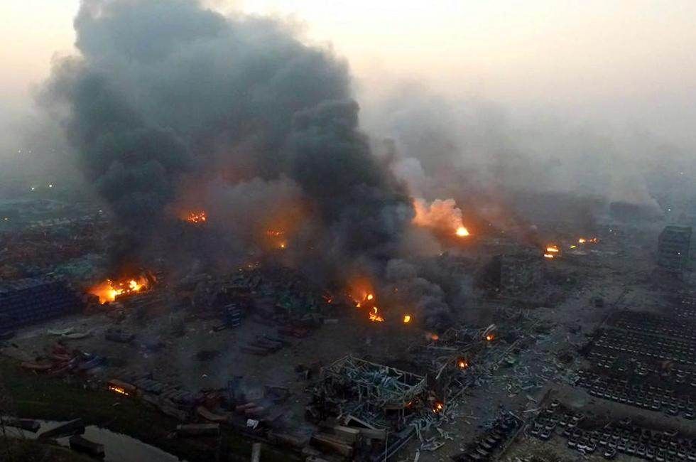 Blazing aftermath of Tianjin explosion.