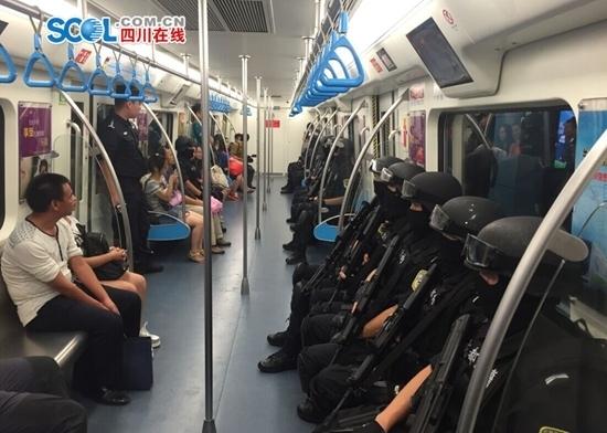 SWAT officers aboard the Chengdu Metro