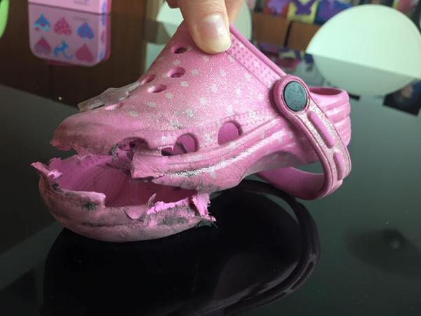 9152130ea1119 Mother s warning after escalator chews up daughter s Crocs shoe ...