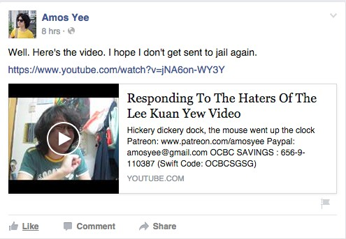 Amos Yee's Facebook post and video upload.