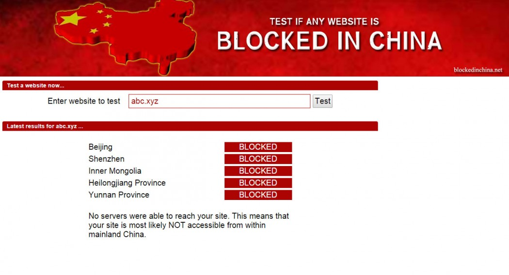 Blockedinchina.net results for abc.xyz