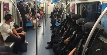 SWAT officers on Chengdu Metro