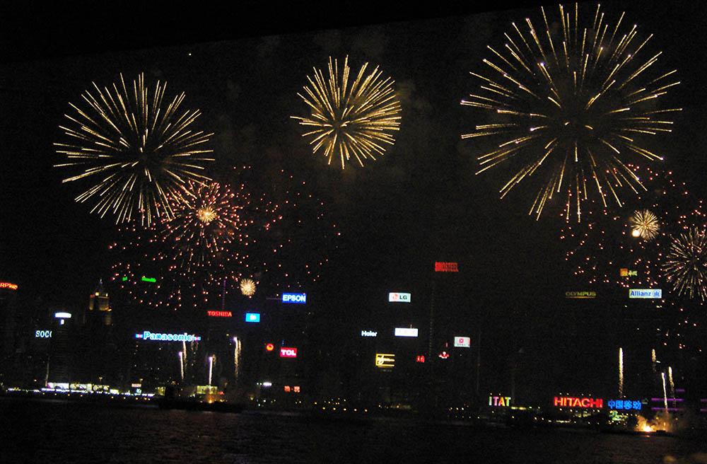 Fireworks over Victoria Harbour