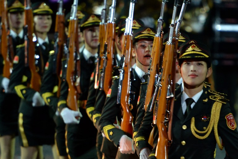 China's participants perform during the Spasskaya Tower international military and music Festival on Red Square in Moscow, on September 5, 2015. Photo: AFP/Vasily Maximov.