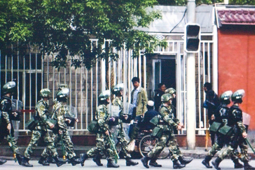 File photo of armed police in Xinjiang
