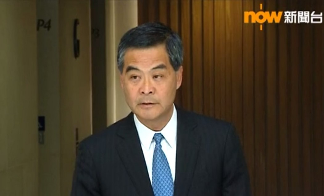Chief Executive Leung Chun-ying speaks to reporters ahead of an Executive Council meeting on Tuesday. Photo: Now TV screencap.
