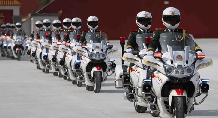 beijing military parade motorbikes