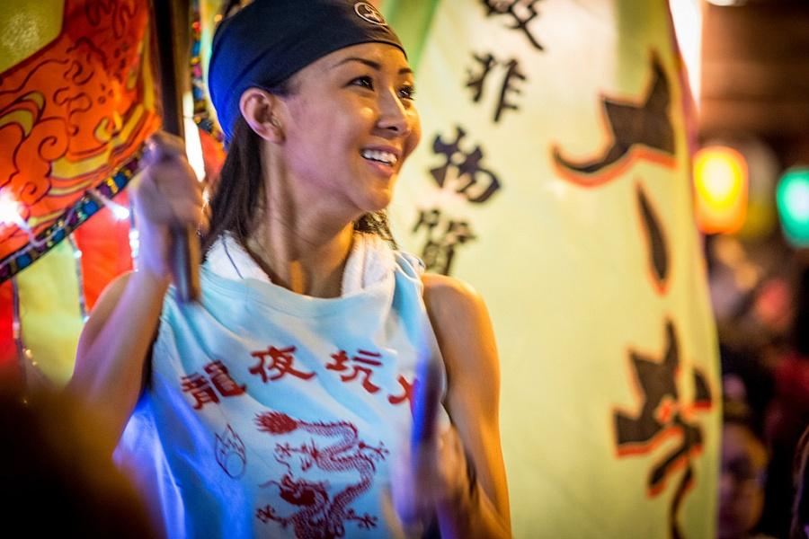 woman dragon dance