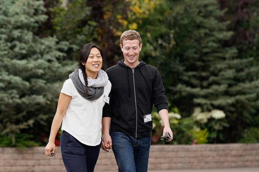 Priscilla Chan with Mark Zuckerberg