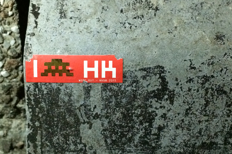 Sticker next to the New 'Space Invader' style art.
