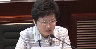 Chief Secretary Carrie Lam at the LegCo meeting.