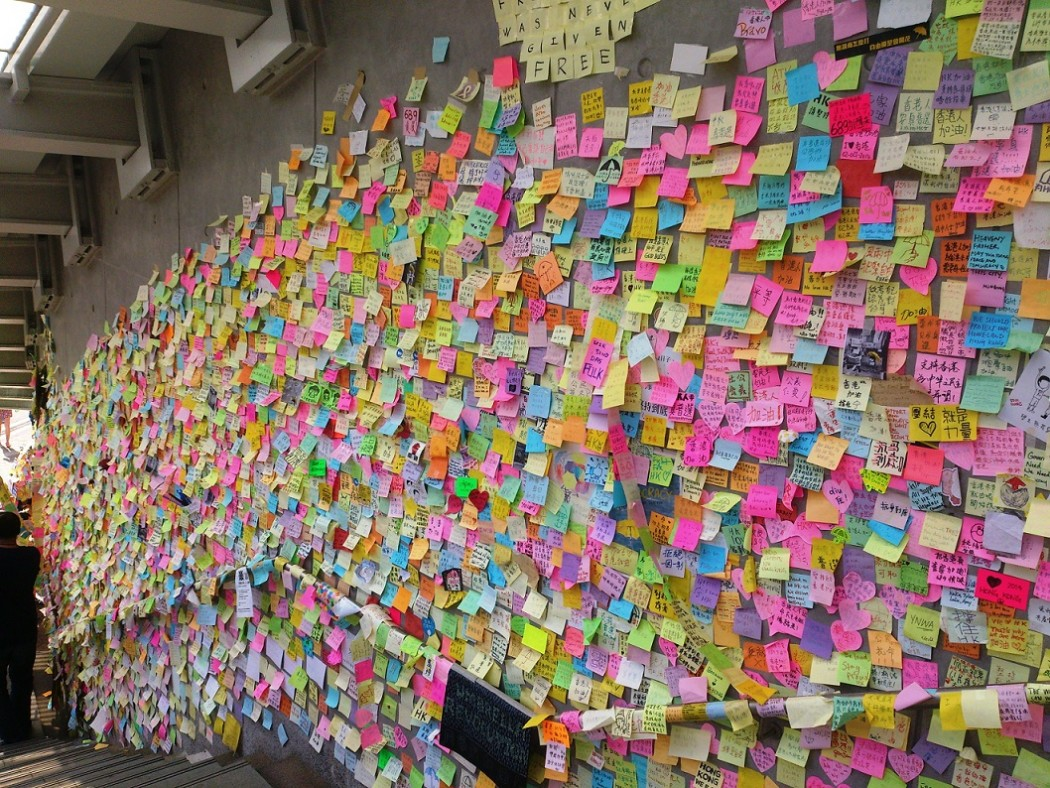 "The ""Lennon Wall"" during the Occupy protest."