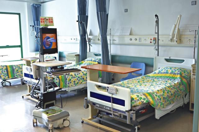 Beds in a Hong Kong hospital.