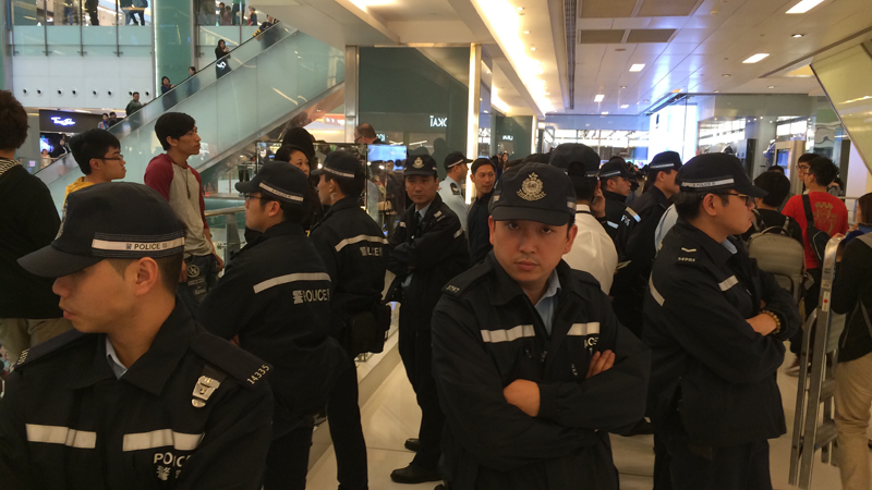 Police surrounding protesters at a protest in Shatin.