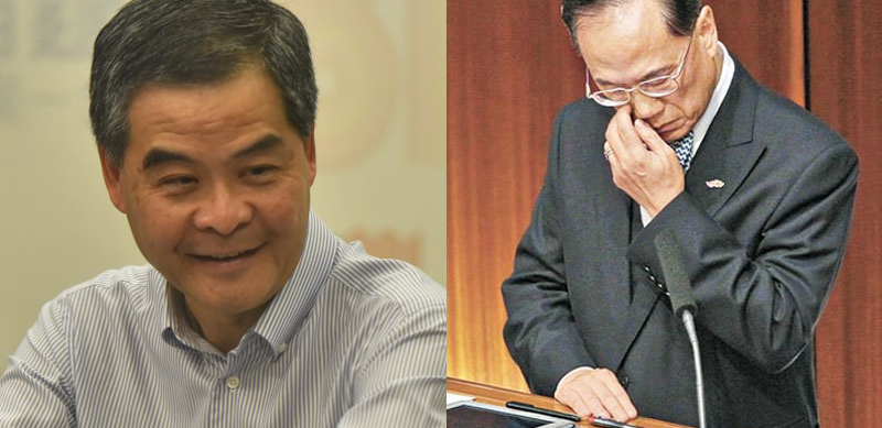 Leung Chun-ying (left) and Donald Tsang (right)