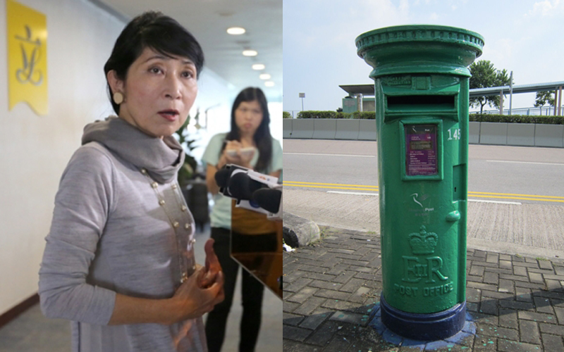 Claudia Mo and an old ERII post box.