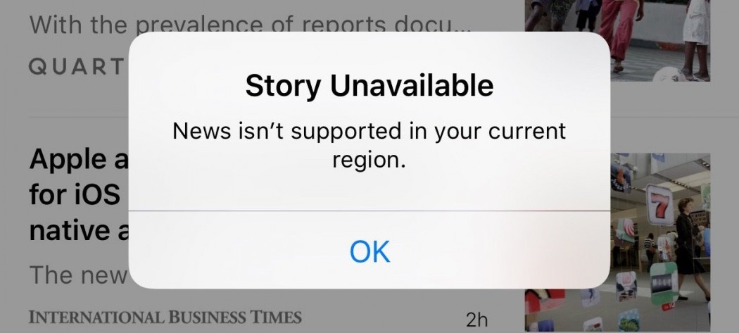 apple news app not available in china