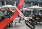 red tape outdoor seating