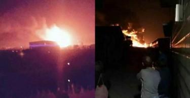 Warehouse fire in Tianjin