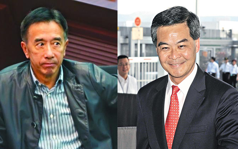 James Tien (left) and Leung Chun-ying (right)