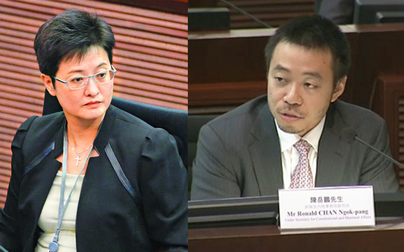 Helena Wong Pik-wan (left) and Ronald Chan Ngok-pang (right)