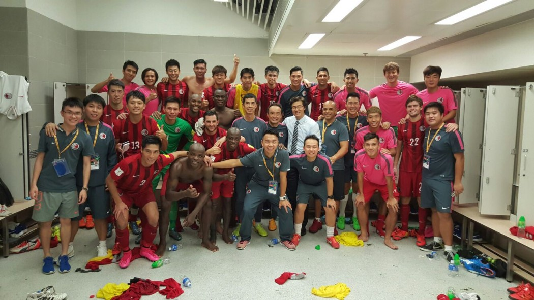 Hong Kong team in the dressing room after the match.
