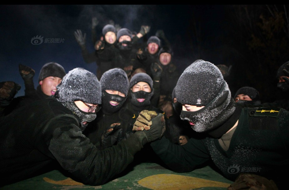 soldiers training in winter