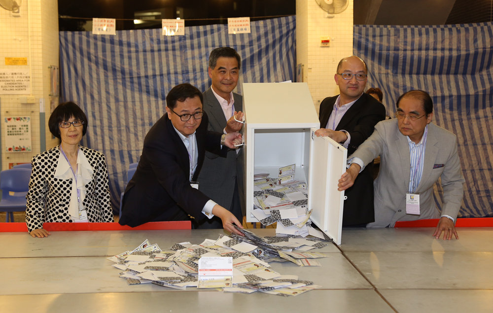 Ballot box opened by Chief Executive Leung Chun-ying.