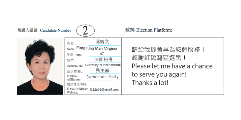 Virginia Fung's election platform.
