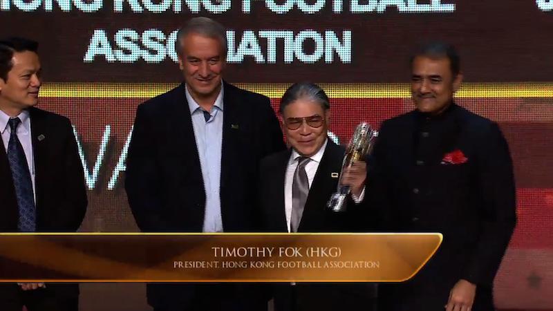 HKFA President Timothy Fok Tsun-ting received the award on behalf of HKFA.