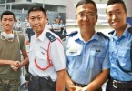 Joe Yeung, a former auxiliary police, shook hands with a police officer during the occupy protest.