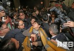 Helena Wong being surrounded, and Claudia Mo was injured. Photo: Apple Daily.