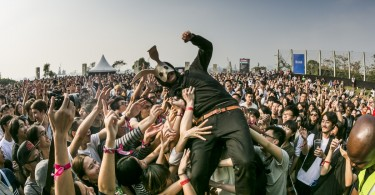 A member of Sleep Party People crowd surfs at Clockenflap. Sleep Party People.jpg