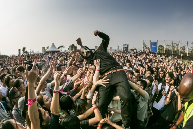 A member of Sleep Party People crowd surfs at Clockenflap. Sleep Party People.jpg