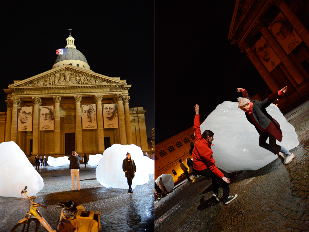 Glacier ice installation 'Ice Watch' at Place du Panthéon, Paris
