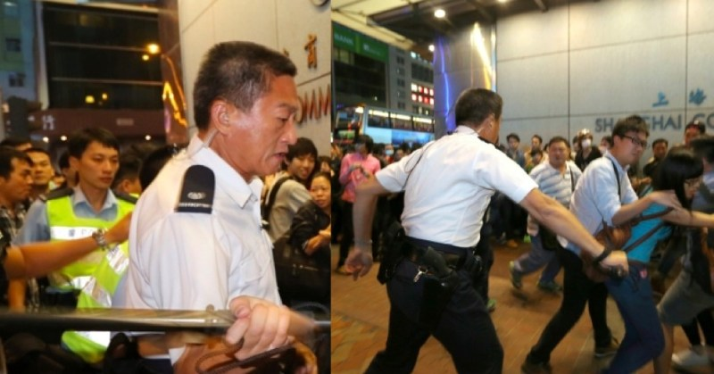 Frankly Chu King-wai was filmed hitting pedestrians with a baton.