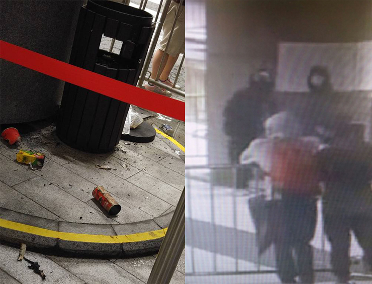 The police have released a CCTV photo capture of two masked suspects
